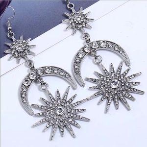 Moon Star Dangle Drop Rhinestone Crystal Earrings